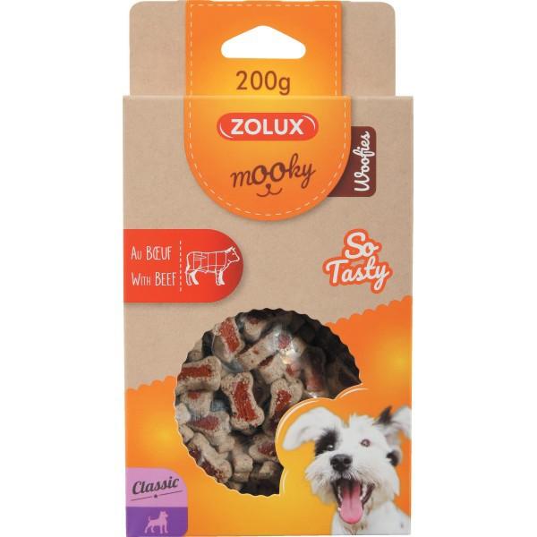 ZOLUX Mooky Classic Woofies z wołowiną  - przysmak dla psa  200g