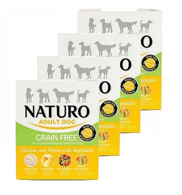 NATURO Grain Free Chicken & Potato 8 x 400g PAKIET bezzbożowa, hipoalergiczna mokra karma dla dorosłych psów