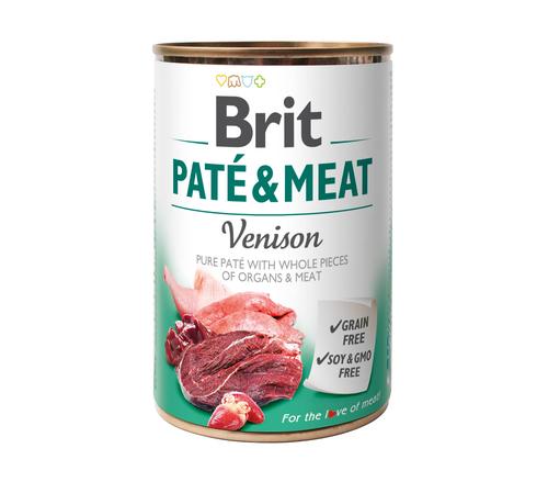 BRIT Pate&Meat Venison mokra karma z dziczyzną dla psa, puszka