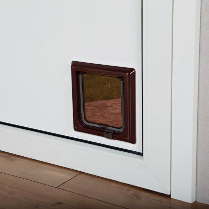 TRIXIE Drzwi wahadłowe dla kota na zamek magnetyczny, brązowe 13 mm