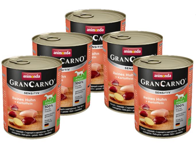 ANIMONDA GranCarno Adult Sensitive Kurczak z Ziemniakami 6 x 800g PAKIET - mokra karma dla dorosłego psa