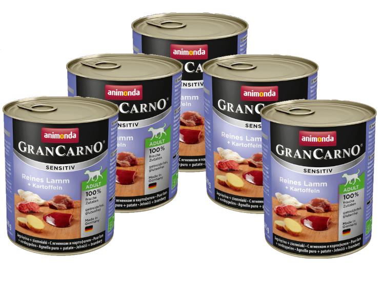 ANIMONDA GranCarno Adult Sensitive Jagnięcina z Ziemniakami 6 x 800g PAKIET - mokra karma dla dorosłego psa