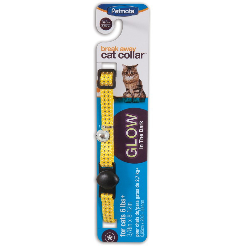 PETMATE Obroża regulowana Glow Dots Yellow dla kota w kolorze żółtym