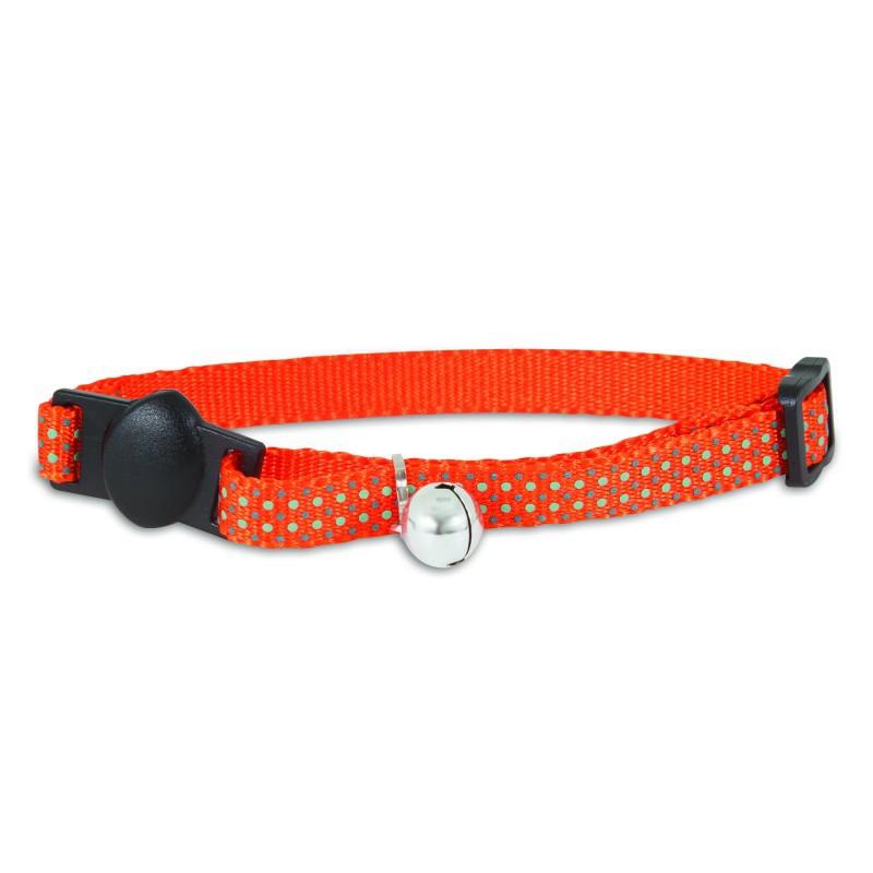 PETMATE Obroża regulowana Glow Dots Orange dla kota w kolorze pomarańczowym