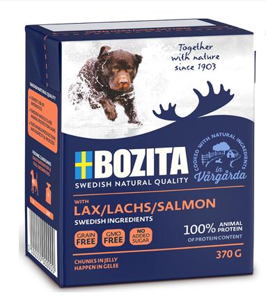 BOZITA Naturals z Łososiem - kawałki mięsa w galaretce, karma dla psa, 370g