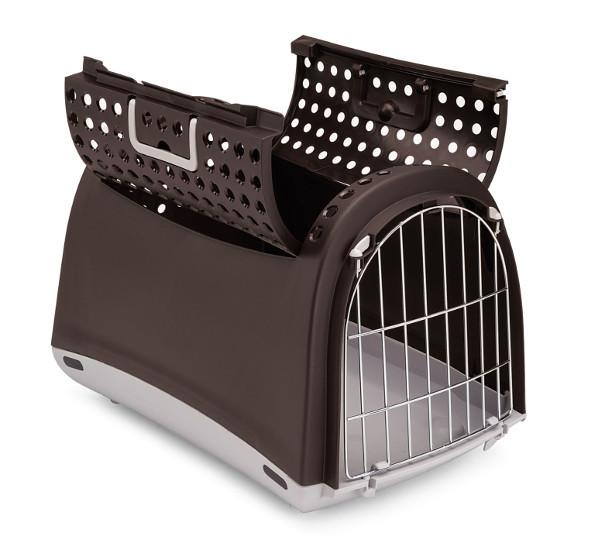 IMAC Transporter Cabrio Brązowy- transporter dla kota lub małego psa z wygodnym otwieraniem