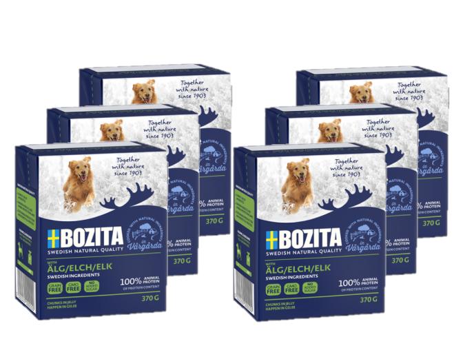 BOZITA Naturals z Łosiem, Pakiet 10 szt - kawałki mięsa w galaretce, karma dla psa, 370g