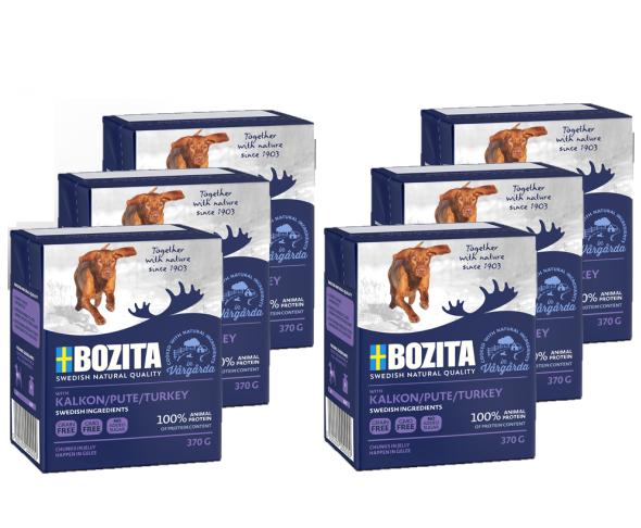 BOZITA Naturals z Indykiem, Pakiet 10 szt - kawałki mięsa w galaretce, karma dla psa, 370g