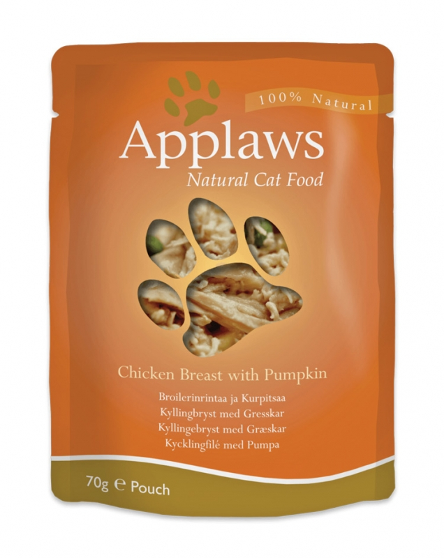 APPLAWS Natural Cat Food Kurczak z dynią - saszetka dla kota 70g 100% NATURALNE!