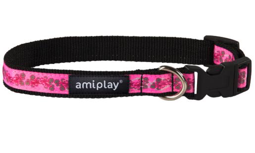 AMI PLAY Joy Różowe kwiatki - obroża regulowana
