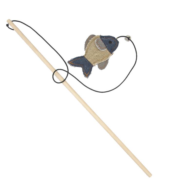 BARRY KING Drewniana wędka z rybą, jasnoszara/granatowa
