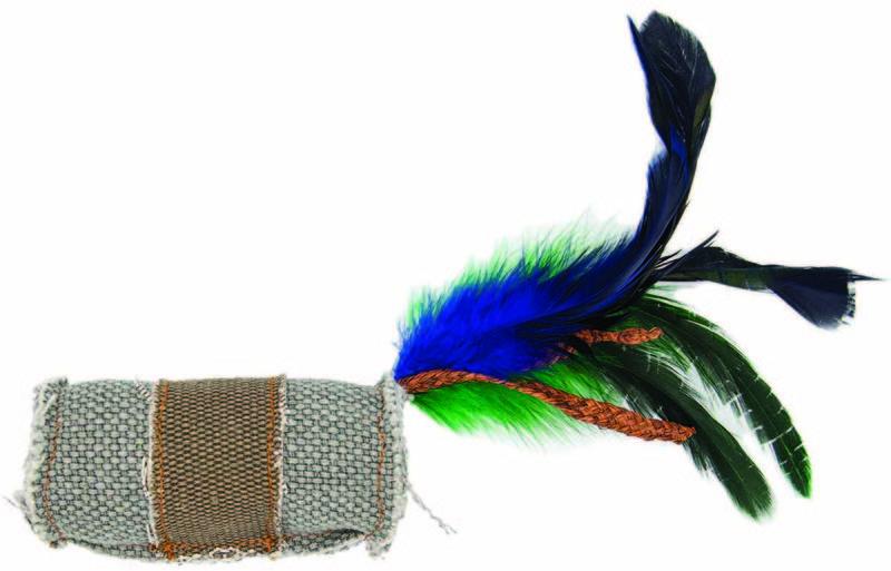 BARRY KING Walec z piórem i sznurkiem dla kota, szaro-brązowy
