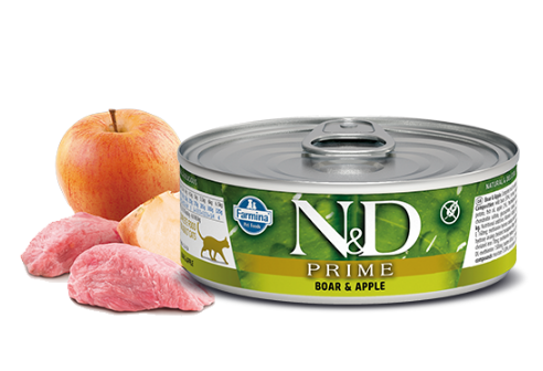 FARMINA N&D Prime Boar and Apple mokra karma dla kotów puszka 80g