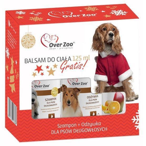 OVER ZOO Zestaw świąteczny dla psów długowłosych Szampon 250ml + Odżywka 240ml + Balsam do ciała Over Cosmetics 125ml