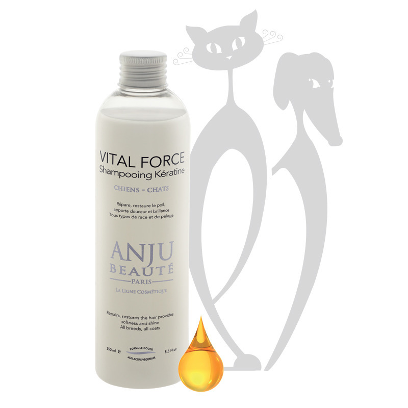 ANJU BEAUTE Vital Force - szampon regenerujący z keratyną, dla psów i kotów, 250 ml