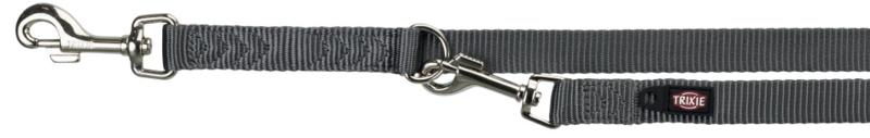 TRIXIE Premium - smycz regulowana dla psa z podwójnej taśmy, grafit