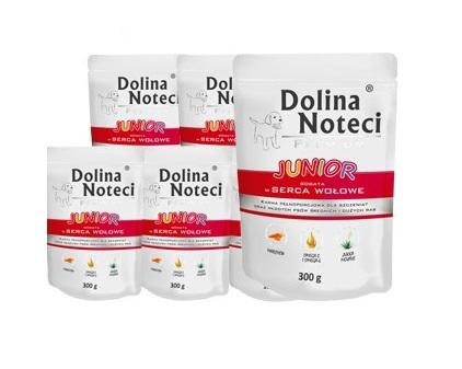 DOLINA NOTECI Junior Serca wołowe 10x300g PAKIET! - pełnowartościowa karma dla szczeniąt