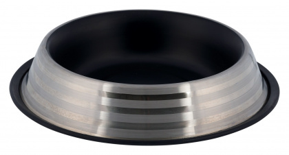 TRIXIE Stalowa miska z kolorowym wnętrzem, czarna