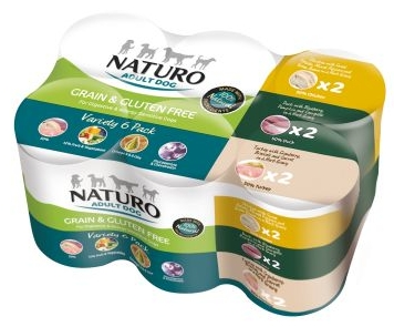 NATURO Variety 6x 390G Puszka - Mix smaków, 2x kaczka, 2x indyk, 2x kurczak