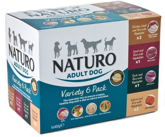 NATURO Variety 6x 400G - Mix smaków, 2x kurczak, 2x łosoś, 1x kaczka, 1x jagnięcina