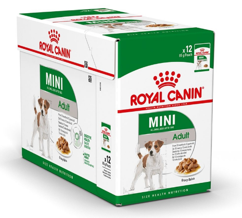 ROYAL CANIN Mini Adult Pakiet 12 szt. - Mokra karma dla psów dorosłych ras małych, Saszetka 85 g