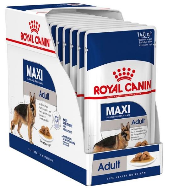 ROYAL CANIN Maxi Adult Pakiet 10 szt. - Mokra karma dla psów dorosłych ras dużych, Saszetka 140 g