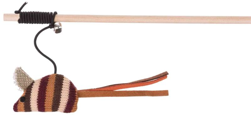 TRIXIE Drewniana wędka z myszką z tkaniny i z dzwoneczkiem