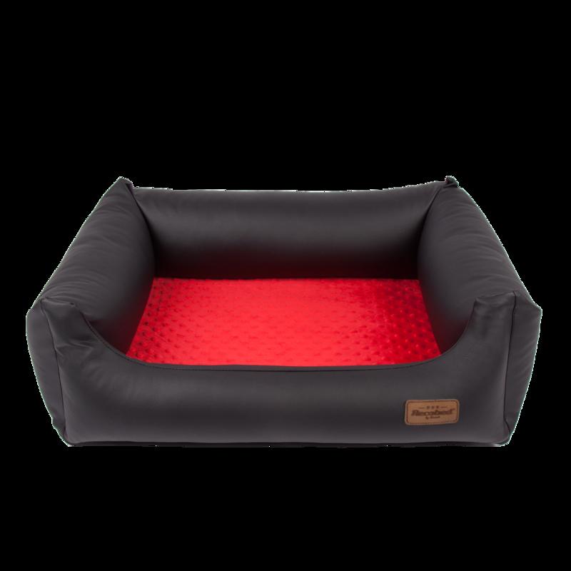 RECOBED Lincoln - kanapa dla psów z ekoskóry i minky, kolor czarno czerwony