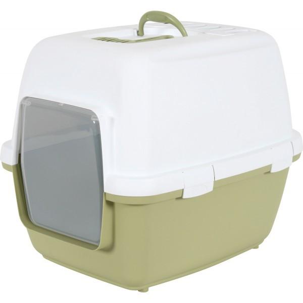 ZOLUX Cathy Comfort - kryta kuweta z filtrem węglowym dla kota, biało-zielona