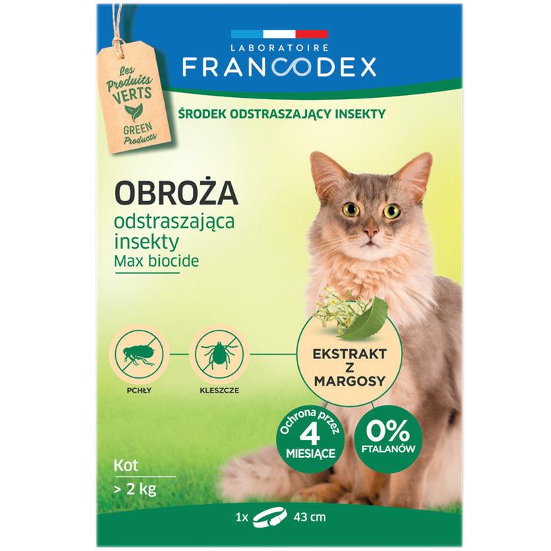FRANCODEX - obroża odstraszająca insekty dla kotów, 43 cm