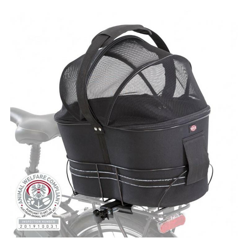 TRIXIE Kosz dla psa na bagażnik rowerowy, ze składanym zabezpieczającym stelażem