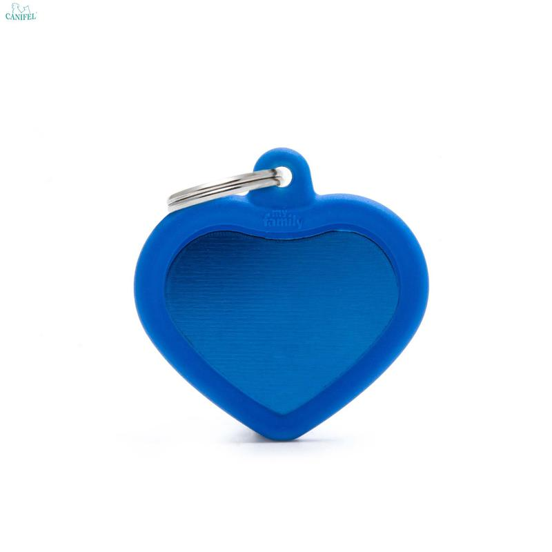 74c09f52747f4f MY FAMILY HUSHTAG ALU COLLECTION Heart Blue - aluminiowo-gumowa adresówka  dla psa