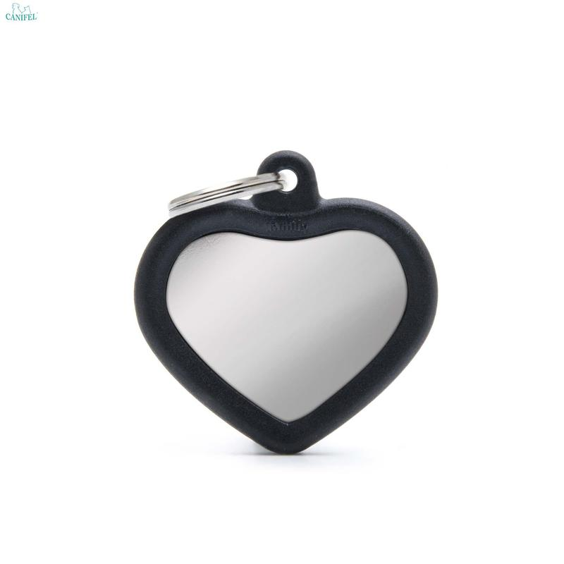 MY FAMILY HUSHTAG CHROME COLLECTION Heart Black - adresówka dla psa