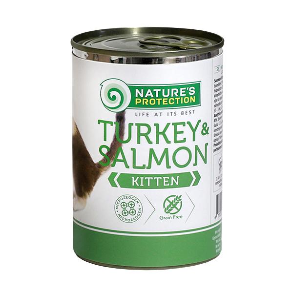 NATURE'S PROTECTION Turkey&Łosoś Kitten mokra karma dla kota puszka 400g