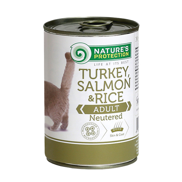 NATURE'S PROTECTION Turkey, Salmon&Rice Neutered mokra karma dla kota puszka 400g