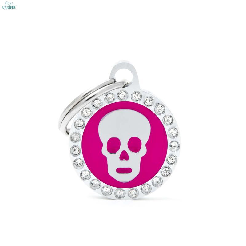 MY FAMILY Glam Pink Skull - adresówka dla psa