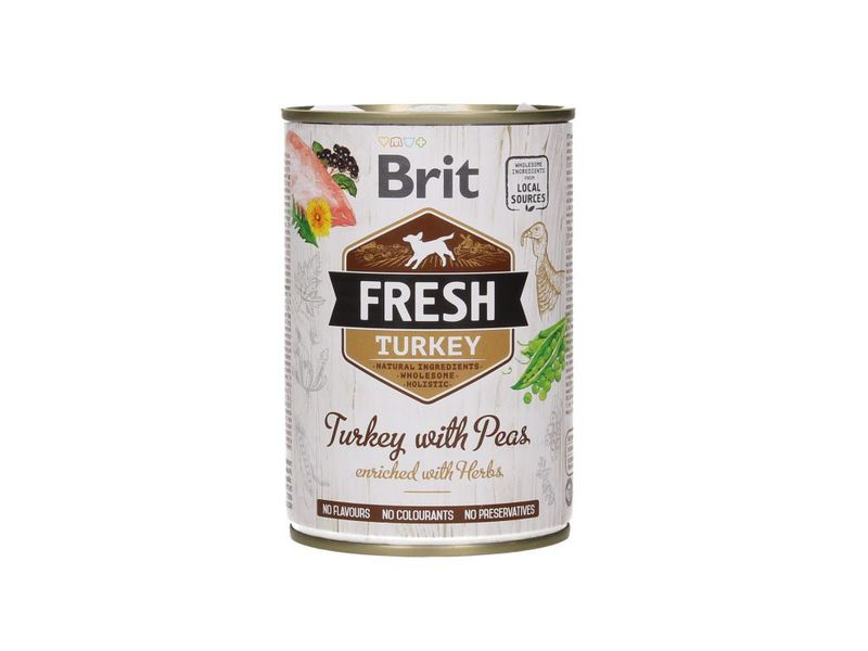 BRIT Fresh Turkey with peas mokra karma dla psa, puszka 400g