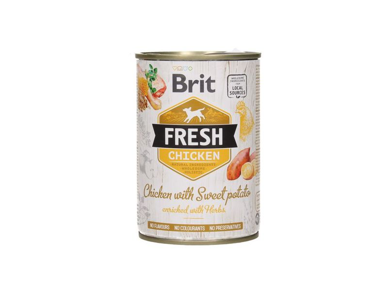 BRIT Fresh Chciken with Sweet Potato mokra karma dla psa, puszka 400g