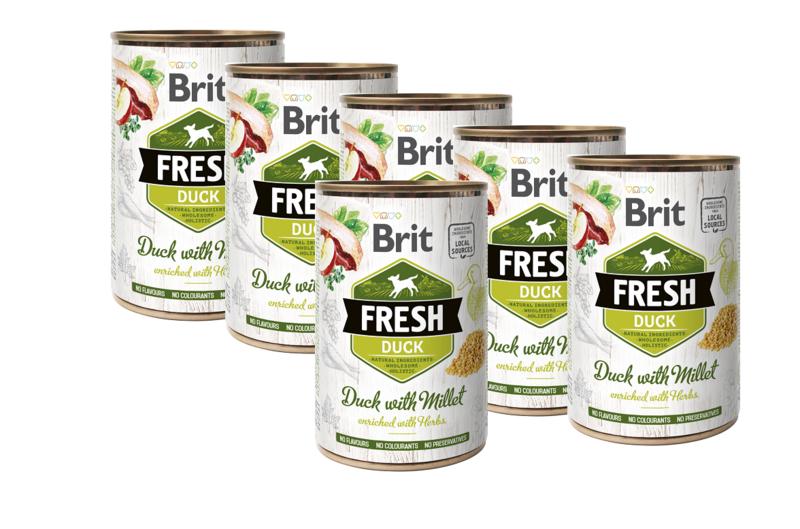 BRIT Fresh Duck with Millet PAKIET 6x400g mokra karma dla psa