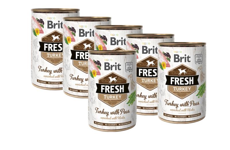 BRIT Fresh Turkey with peas PAKIET 6x400g mokra karma dla psa