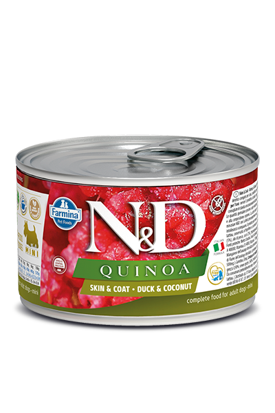 FARMINA Quinoa Skin & Coat Duck mokra karma dla psa, puszka 140g i 285g