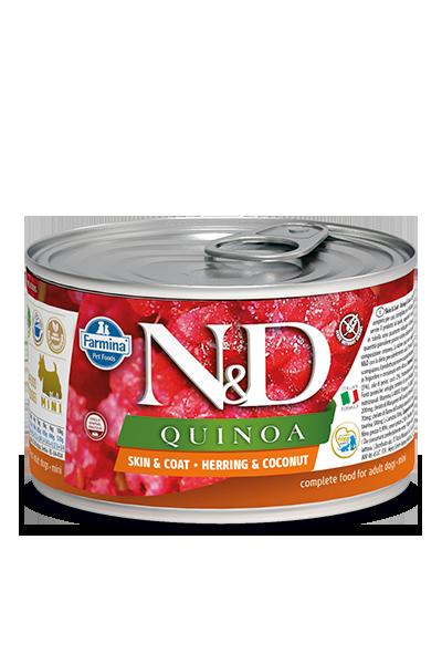FARMINA Quinoa Skin & Coat Herring mokra karma dla psa, puszka 140g i 285g