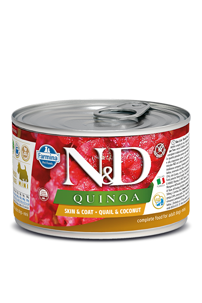 FARMINA Quinoa Skin & Coat Quail mokra karma dla psa, puszka 140g i 285g