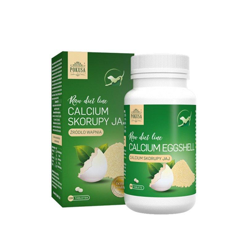POKUSA POKUSA RawDietLine - skorupy jaj kurzych, naturalne źródło wapnia, 120 tabletek