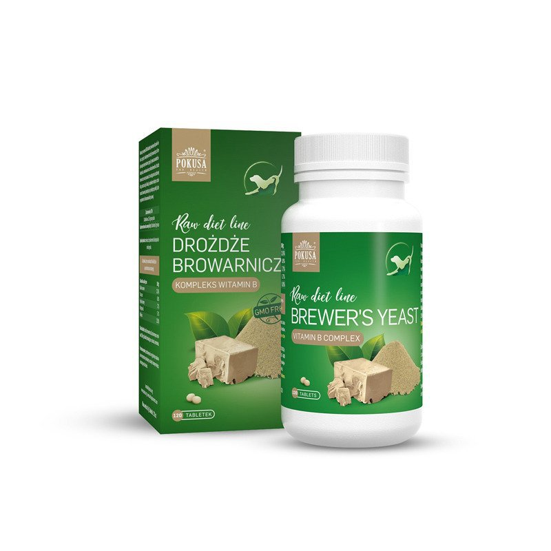 POKUSA RawDietLine - drożdże browarnicze, poprawa kondycji sierści, kompleks witamin z grupy B, prebiotyk, 120 tabl.