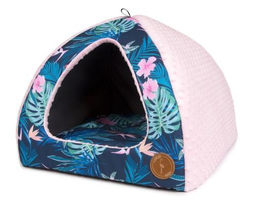LAUREN BELLA Budka dla psa lub kota, Tropic + minky róż, 50x50cm