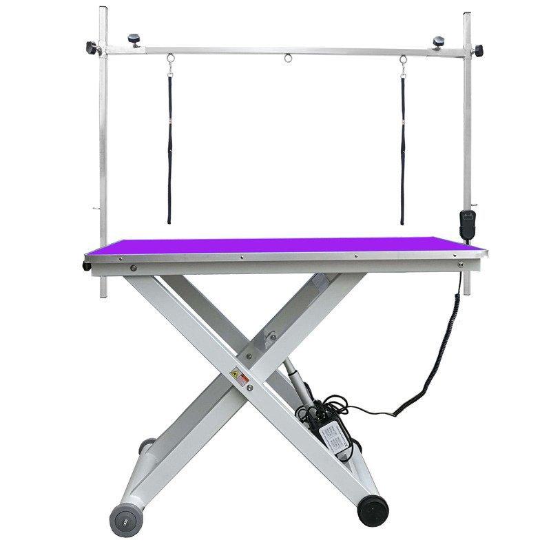GROOMSTAR - stół z podnośnikiem elektrycznym, blat 120 cm x 65 cm, fioletowy