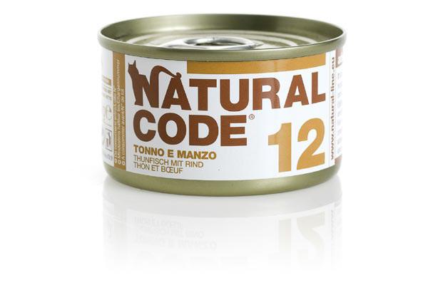 NATURAL CODE 12 puszka 85g tuńczyk i wołowina, mokra karma dla kota