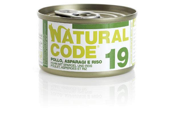 NATURAL CODE 19 puszka 85g kurczak, szparagi  i ryż, mokra karma dla kota