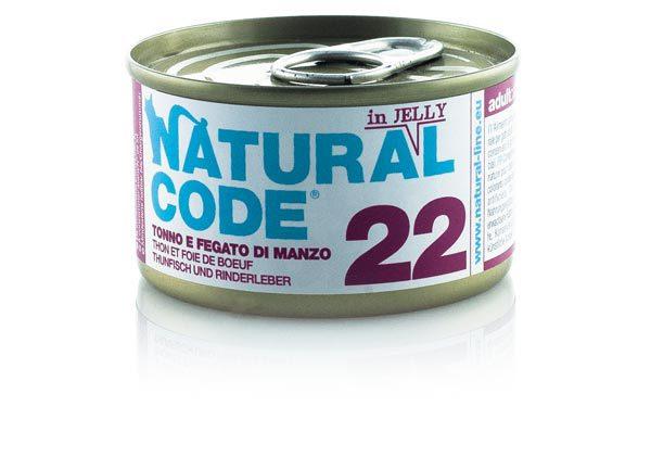 NATURAL CODE 22 puszka 85g tuńczyk i wątróbka wołowa w galarecie, mokra karma dla kota
